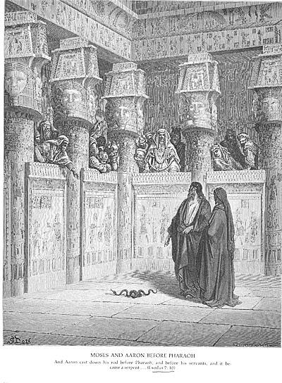 התשובה לבן הרשע. משה ואהרון לפני פרעה|צילום: גוסטב דורה