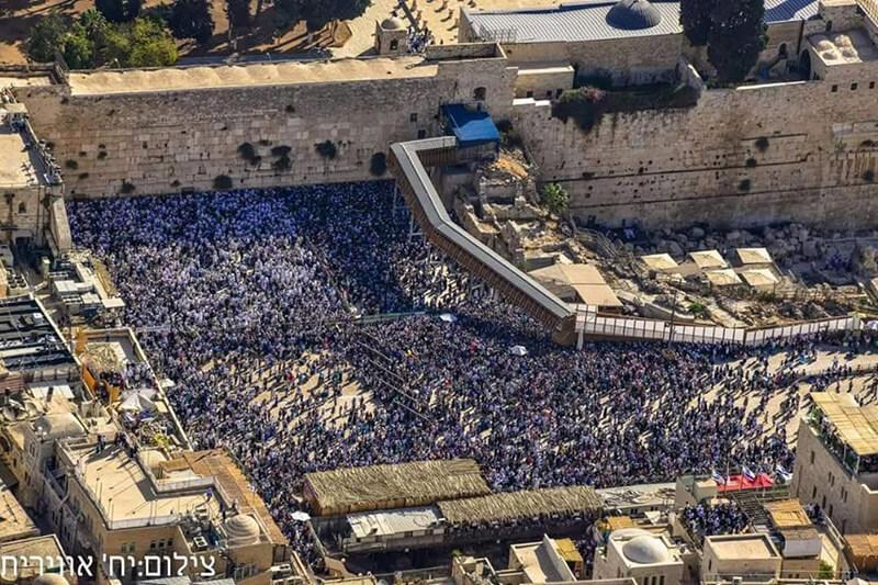 46 שנה ברציפות. ברכת כהנים בכותל המערבי| צילום: היחידה האווירית של משטרת ישראל